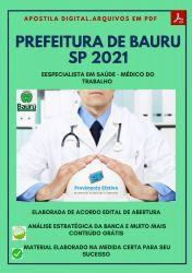 Apostila Prefeitura BAURU SP 2021 Médico do Trabalho - PEConcursos