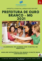 Apostila Pref Ouro Branco MG Técnico Contabilidade Prova 2021