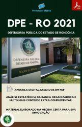 Apostila DPE RO  Administração Analista Defensoria Ano 2021